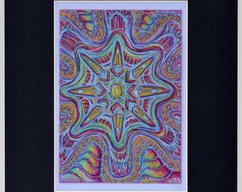Original Expressive Energetic Mandala Matted Drawing: Inner Journey