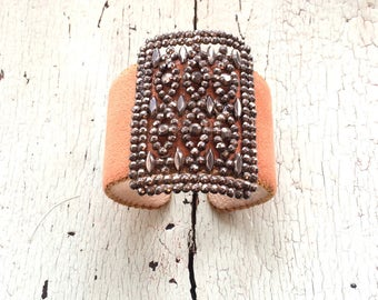Desert Garden - Caramel Ultrasuede Adjustable Cuff with Filigree Panel