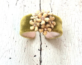 Silk Velvet Floral Adjustable Cuff in Chartreuse