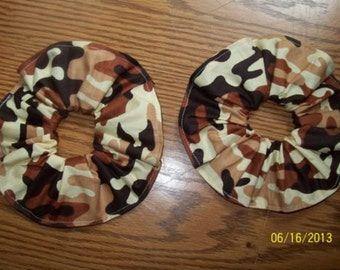 4 pack of Camouflage Hair Scrunchies, New