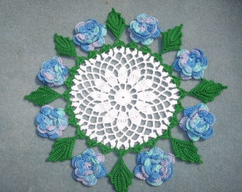 handmade round cotton crochet doily with variegated ocean roses  --  2568