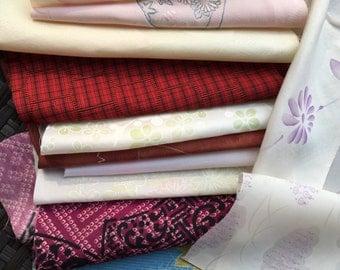 Kimono fabric pieces - silk blends - sewing supplies - 1/2 lb