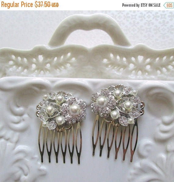 20% SALE Wedding Hair Comb set  Pearl hair clip bridal Barrette Ivory pearl Hair Piece small Bridal Hair Accessories hair brooch hair flower