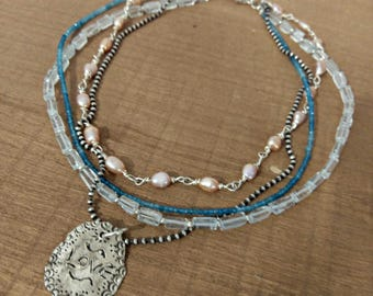 Gemstone Multi strand  necklace, Boho style strand necklace, Silver and  pearl, aquamarine and apatite  Layered necklace