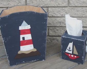 NAUTICAL Kids Wood Wastebasket & Tissue Box - Original Hand Painted - Bathroom Decor - Hale Navy