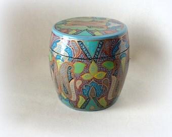 """Vintage 4"""" Ginger Jar Kashmir Paper Mache Lacquered Trinket Barrel Box Exotic Teal Blossom Hand Made Painted Large Treasure Valet Dresser"""