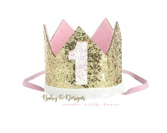 First Birthday Crown | 1st Birthday Girl Cake Smash | ONE Birthday | Baby Girl First Birthday Outfit | Baby Girl Birthday Hat Gold Baby Pink