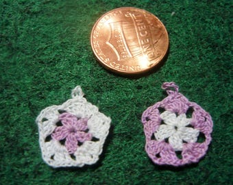 Granny Square Potholders 5 Sided Lavender Purple and White Miniature Hand Crocheted  1-12 scale for doll house printers drawer kitchen