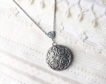 Silver Locket Necklace - Silver FLOWER LOCKET - Celtic Design - ORIGINAL - by BirdzNbeez - Mother's Day Wedding Birthday Bridesmaids Gift