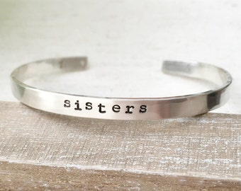 Sisters Bracelet. Sterling silver hammered cuff bracelet, graduation gift for her, birthday, family jewelry, arrow, heart, personalize