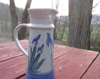 Tall Vintage Pottery Pitcher - Hand Painted Iris - Beige Blue Green