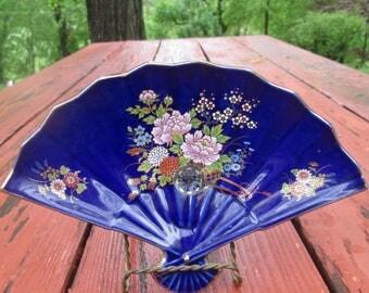 Vintage Fan Shaped Dish - Fan Shaped China Plate - Deep Blue/ Floral Design - Japan