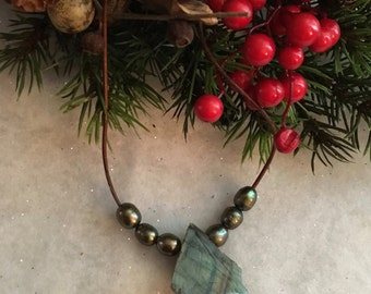 Beautiful Rough Cut Labradorite Pendant With Olive Green River Pearls on Leather