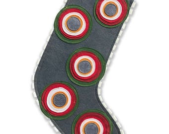Modern Holiday Stocking - Gray with multi colored circles