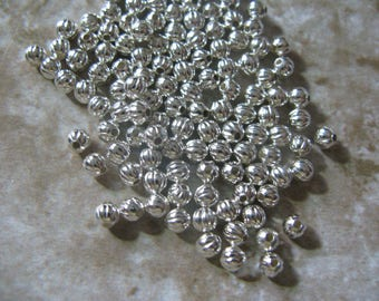 Bright Silver plated bead corrugated 3mm 100 Beads