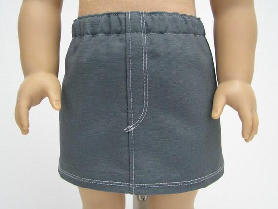 "Girl Doll Clothes - American Handmade - 18 Inch Doll Clothes - 18 Inch Doll Skirt - Girl Doll Skirt - 18"" Doll Skirt - Grey Skirt"