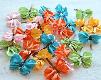 Fabric butterflies, satin butterfly embellishments, butterfly appliques, party decor, butterflies for headbads (5pcs)-  COLORFUL BUTTERFLIES