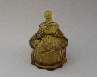1950s Mosser Glass Lady Powder Jar Figural Trinket Box Vanity Item Amber Pressed Glass