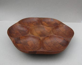 Captivating Teak Lazy Susan Divided Serving Platter 1970s Vintage Inlaid Mosaic Wood  Rotating Nut And Snack Server