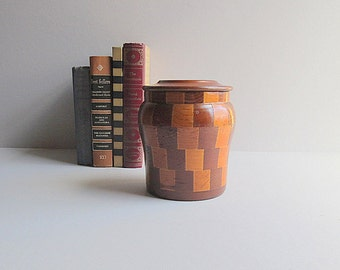 Vintage Redwood Container, Rustic Storage Container, Rustic Redwood Urn, Wooden Canister With Lid, Primitive Wood Canister