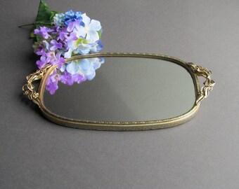 Vintage Vanity Tray, Small Wall Mirror, Dresser Tray, Jewelry Tray, Hollywood Regency Mirror, Bathroom Mirror, Bedroom Mirror, Dresser Tray