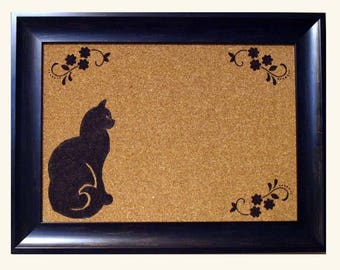 framed cork board framed cork framed bulletin board cat framed memo board framed message board - Framed Cork Board