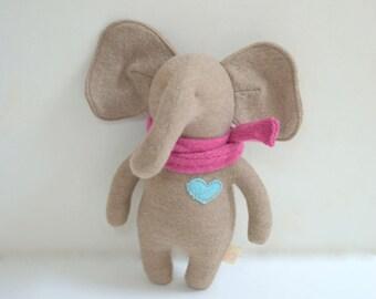Handmade Elephant stuffed small mocha tan beige Merino wool elephant doll upcycled sweater eco baby gift plush elephant bubynoa Elifants