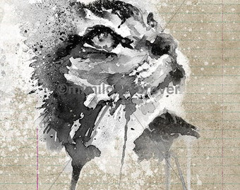 Tabby Cat Art Print. Cat Art. Cat Watercolour Print. Grunge Style. Cat Wall Art.