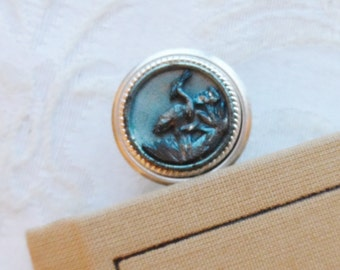 Bookmark, Antique Button made in France, Heron, Egret, Bittern, Bird, Blue Tint with Silver Highlights