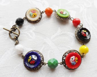 Vintage Glass Button Bracelet- Folk Art