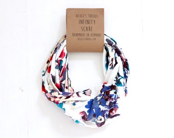 Infinity Scarf - Jersey - Colorful Floral on White - Knit Fabric - Stretchy - Scarf