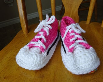 Crochet Pink tops multi variegated 9 inch soles, Ladies small, shoe size 5/6