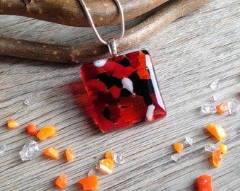 Orange Jewellery / Orange Summer Necklace / Boho Jewellery / Gift for Sister / Summer Jewellery / Orange Red and Black / Giftbox