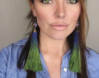 Tassel earrings, long tassels, blue green, cobalt blue earrings, tassle earrings, boho chic, boho earrings, bohemian jewelry, earrings