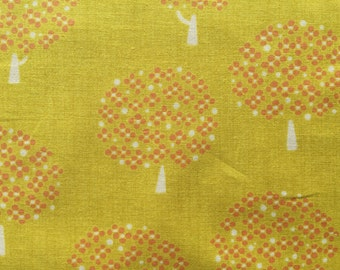 Trees in yellow and orange Japanese cotton fabric
