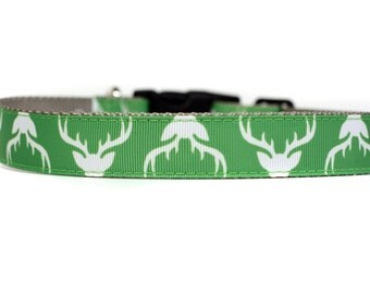 Holiday Buck 1 Inch Wide Dog Collar with Adjustable Buckle or Martingale