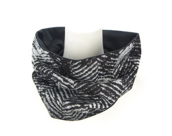 Black Gray Herringbone Wool Cowl Scarf Tube
