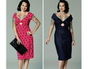 Butterick 6413-Pin up Girl Dress,Misses' Gathered-Front, Keyhole Dress,Rockabilly 50's dress Size 6-14