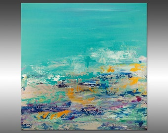 A Place by the Sea - Original Abstract Painting, Contemporary Modern Art Paintings, Canvas Wall Art