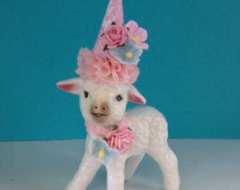 Birthday Decoration Easter Decoration Shabby Chic Vintage Lamb Figurine Birthday Ornament Cake Topper TVAT
