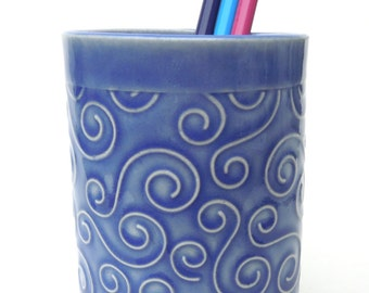 Blue Textured Whimsical Swirl Handmade Ceramic Pottery Pencil Holder Cup Vase