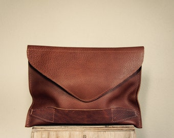 NEW////Mixed Brown Leather Clutch with Handle