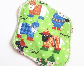 8 Inch Cloth Pad - Regular Flow  - Sheep with Sweaters Printed Flannel FREE Shipping