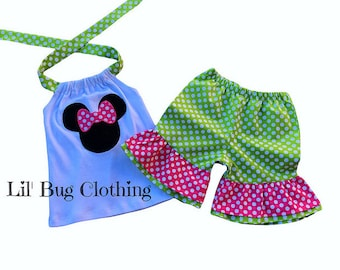 Minnie Mouse Lime Pink Polka Dot Short & Halter Top Outfit, Minnie Mouse Lime Pink Outfit, Minnie Mouse Girl Clothes