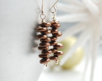 Cinnamon Brown Earrings, Beaded Stacked Earrings, Metallic Earrings, Brown Glass Earrings, Sterling Silver, Everyday Earrings