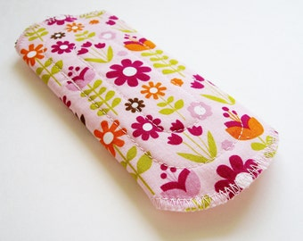 6in 15cm Cotton Panty Liner Cloth Menstrual Pad, Flowers Floral Pink Green Orange Washable Reusable Incontinence Pad Liner, Cloth Sanpro CSP
