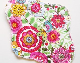 "9"" Cotton Regular Absorbency Cloth Menstrual Pad, Pink Green Flower Butterfly Bird, Washable Reusable Pad Incontinence Pad, Cloth Sanpro CSP"