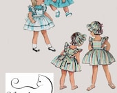 1950s Toddlers Cutest Dress , Pinafore or Sundress and Beach Hat Simplicity 4413 Vintage 50s Sewing Pattern Size 1 Breast 20