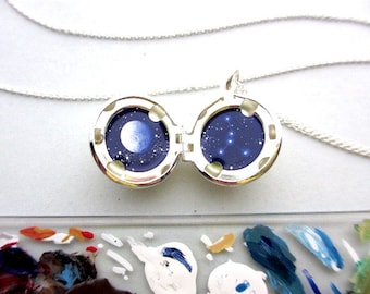 Cancer Constellation Locket, Miniature Original Oil Painting, Silver-Plated Pendant