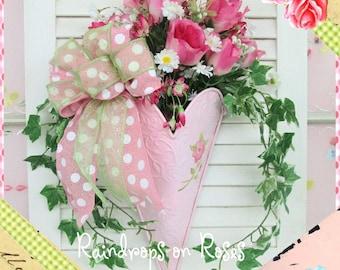 Door Decor, Pink Roses and Daisies Door Hanger, Rose Wall Pocket, Roses, Wall Hanging, Door Decoration, Wreath, Wall Hanging